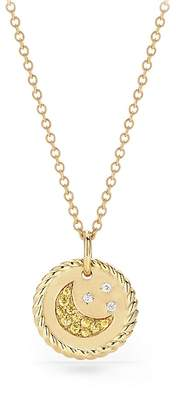 David Yurman Cable Collectibles Moon & Stars Necklace with Diamonds & Yellow Sapphire in 18K Gold