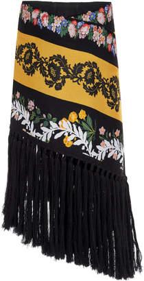 Oscar de la Renta Fringed Floral-Embroidered Wool-Blend Midi Skirt Siz