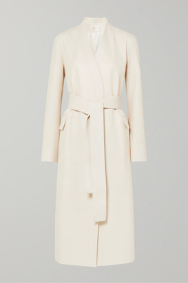The Row Jumo Belted Textured-leather Coat - Off-white