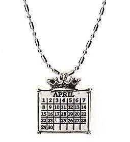 QVC Personalized Silvertone Calendar Crown Charm Ne