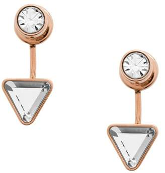 Fossil Triangle Rose Gold-Tone Stainless Steel Front-Back Drop Earrings jewelry ROSE GOLD