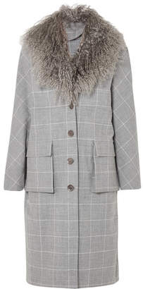 Lela Rose Shearling-trimmed Checked Woven Coat - Gray