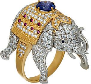 Diamonique Elephant Ring, Sterling