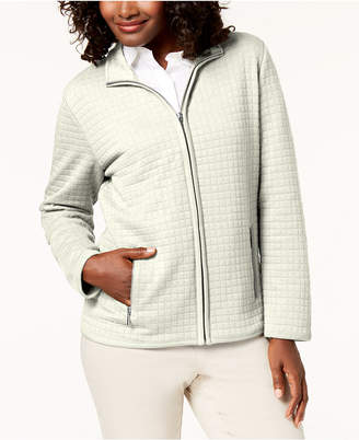 Karen Scott Petite Quilted Fleece Zip-Up Jacket
