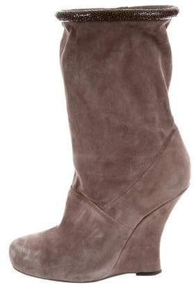 Tabitha Simmons Stingray-Trimmed Wedge Ankle Boots
