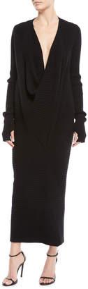 Urban Zen Ribbed Cowl-Neck Cashmere Cocoon Dress