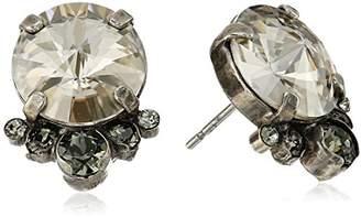 Sorrelli Core Antique Silver Tone Crystal Rock Regal Rounds Stud Earrings