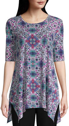 East Fifth east 5th Womens Round Neck Elbow Sleeve Knit Blouse