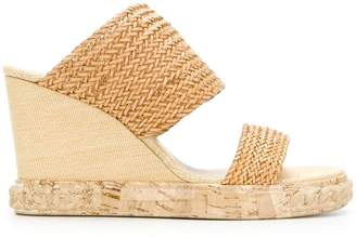 Casadei woven slip-on wedges