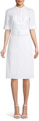 Derek Lam Striped Belted Cotton Shirtdress