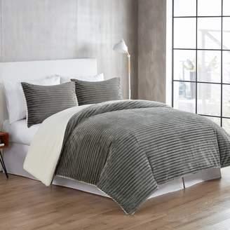 Vcny Home VCNY Home Zane Ribbed Plush to Sherpa Fleece 3-piece Reversible Comforter Set