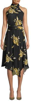 Joie Kehlani Floral-Print Silk Halter Dress