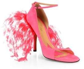 Valentino Suede & Feather High-Heel Sandals