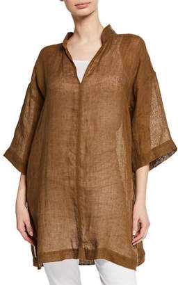 Eileen Fisher Petite Stand-Collar 3/4-Sleeve Organic Linen Gauze Tunic