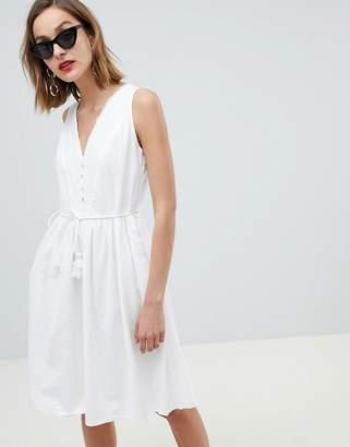 MANGO Tie Waist Prarie Dress In White
