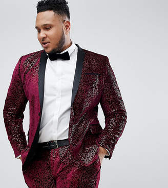 Asos Edition EDITION Plus super skinny tuxedo suit jacket in allover burgundy sequin