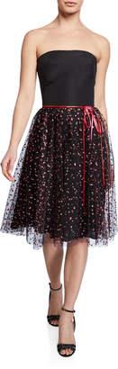 Monique Lhuillier Strapless Shimmered Confetti Tulle Tea-Length Dress