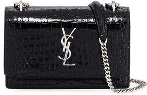 Saint Laurent Sunset Monogram Small Crocodile Embossed Wallet on Chain