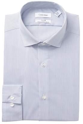 Calvin Klein Stripe Print Stretch Slim Fit Dress Shirt