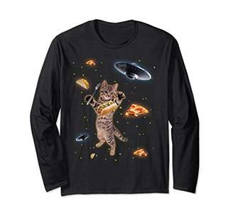 Funny Space Pizza Cat With UFOs Trippy Long Sleeve Shirt