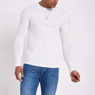 River Island Mens White muscle fit long sleeve T-shirt