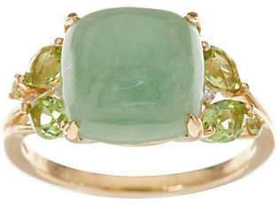QVC Jade & Peridot Ring, 14K Gold,0.50 cttw