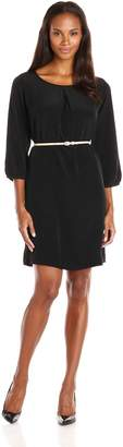 Dockers Women's Poly Charmeuse 3/4 Sleeve Scoop Neck Dress