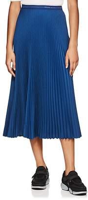 Prada Women's Logo-Waist Pleated Twill Midi-Skirt