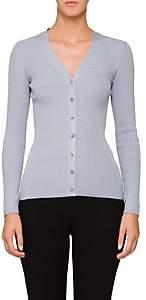Prada Women's Ribbed Wool-Blend Cardigan - Blue
