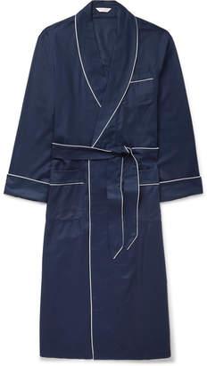 Derek Rose Lombard Piped Cotton-Jacquard Robe