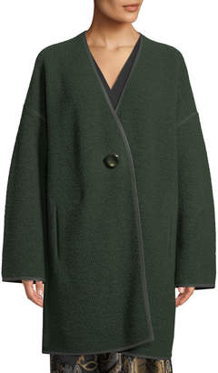 Lafayette 148 New York Oversized Resin-Button Front Wool Coat