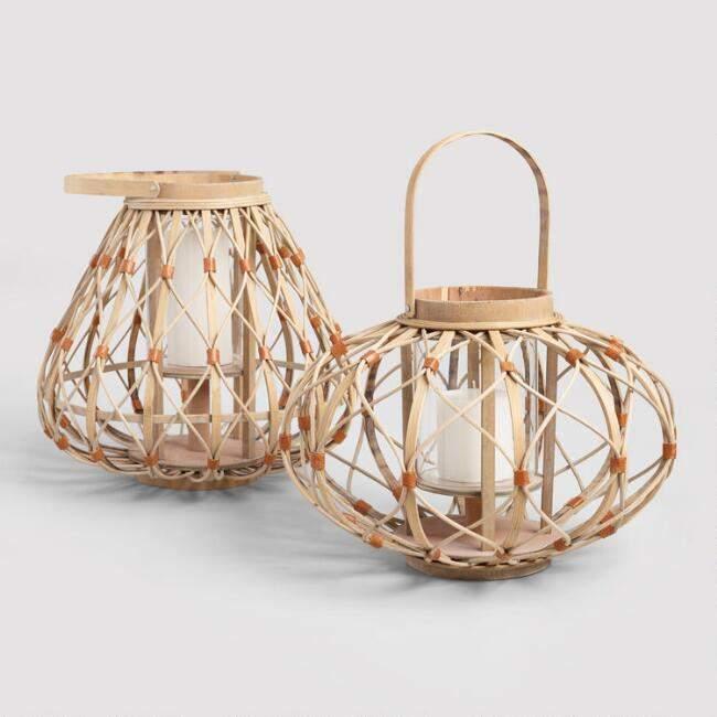 Bamboo and Vegan Leather Lantern