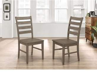 Walker Edison Wood Ladder Back Dining Chair, Set of 2 - Aged Grey (Multiple Colors Available)