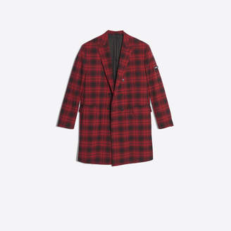 Balenciaga Checked wool blend gabardine oversize double breasted coat