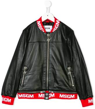 MSGM Kids leather bomber jacket