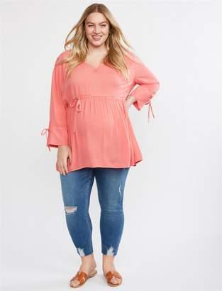 184726d172ed9 Motherhood Maternity Indigo Blue Plus Size Secret Fit Belly Skinny Leg  Maternity Crop Jeans