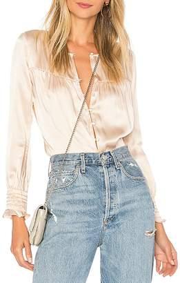 For Love & Lemons Silk-Blend Button Bodysuit