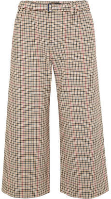 Maje Cropped Houndstooth Tweed Wide-leg Pants - Beige