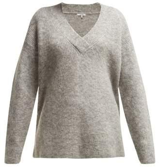 Ganni Callahan V Neck Mohair Blend Sweater - Womens - Light Grey