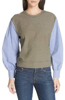 Derek Lam 10 Crosby Stripe Sleeve Plaid Sweatshirt