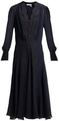 Chloé Lace Trimmed Silk Georgette Midi Dress - Womens - Navy