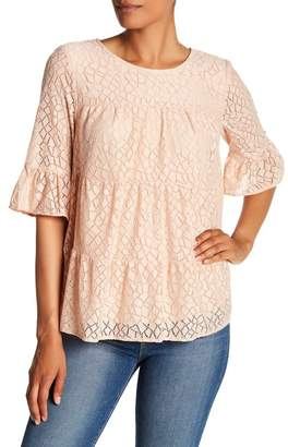 Pleione Tiered Stretch Lace Blouse