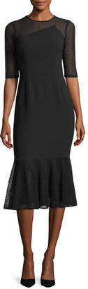 Rickie Freeman For Teri Jon Three-Quarter Sleeve Jewel-Neck Crepe Sheath Dress