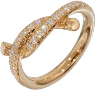 Cartier 18K Rose Gold Entrelaces Diamonds Design Ring Size 3.5