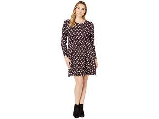 MICHAEL Michael Kors Size Chevron Print Long Sleeve Flare Dress
