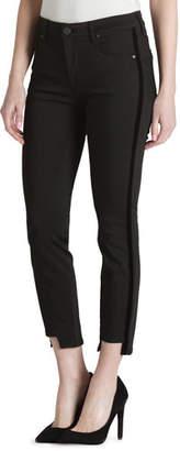 Parker Smith Twisted Tuxedo Step-Hem Skinny Jeans with Velvet Stripes