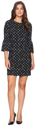 Calvin Klein Printed Ponte Bell Sleeve Dress CD8P986L Women's Dress