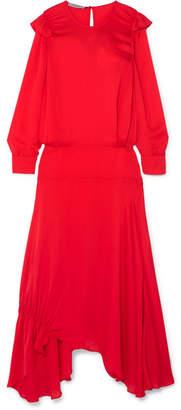 Preen Line Mia Ruffled Crepe De Chine Maxi Dress - Red