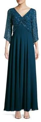 J Kara Sequin Embellished Gown