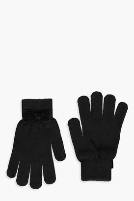 boohoo Velvet Bow Gloves